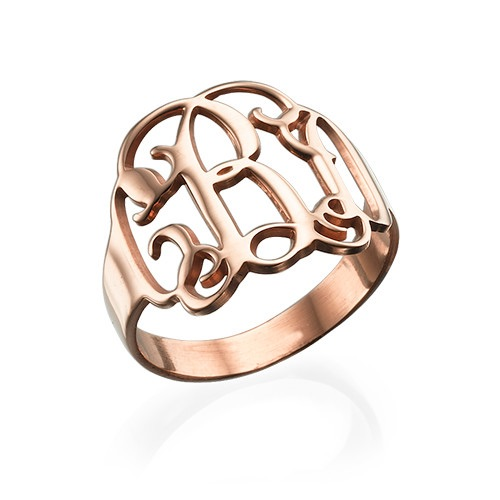 Monogram Rose Gold Plated Ring