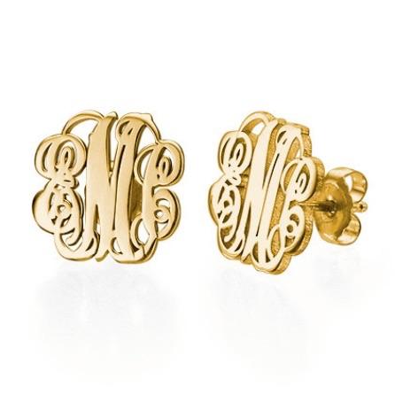 Monogram 18k Gold Plated Earrings