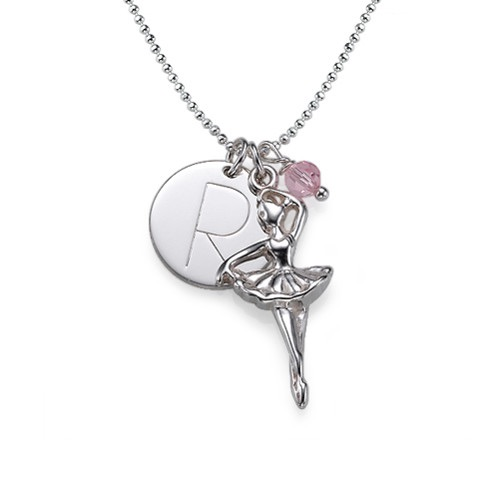 Ballerina Initial Sterling Silver Necklace