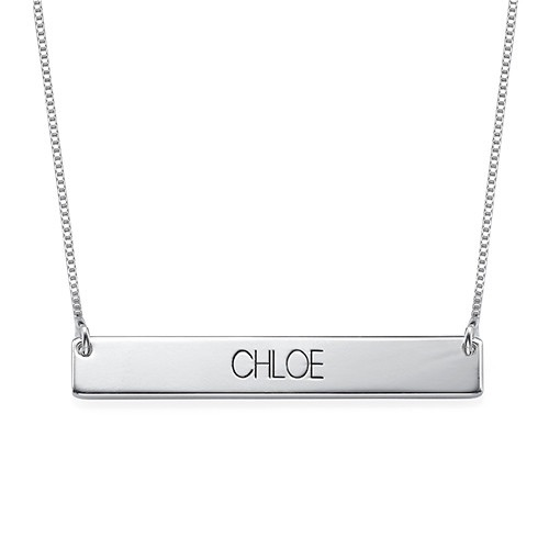Bold Capital Font Bar Necklace Sterling Silver