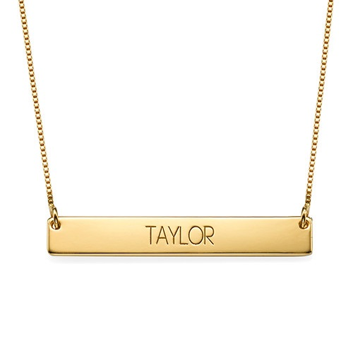 Bold Capital Font Bar Necklace Gold Plated
