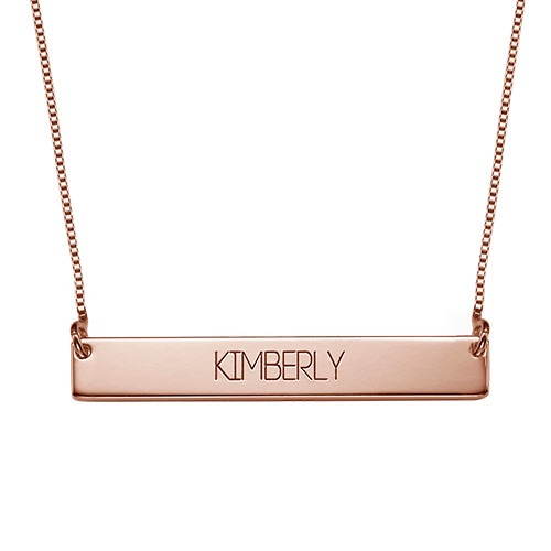 Bold Capital Font Bar Necklace Rose Gold Plated