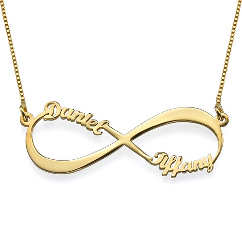 Cut Out Name Gold Plated Infinity Necklace