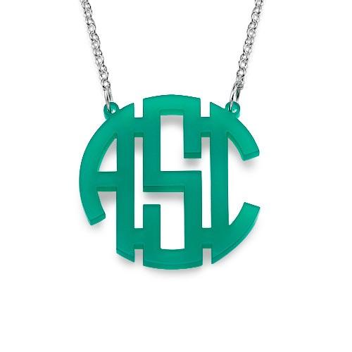 Block Monogram Necklace Acrylic
