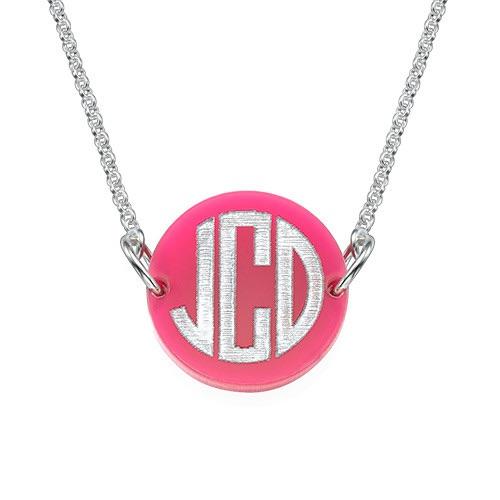 Acrylic Silver Block Monogram Necklace