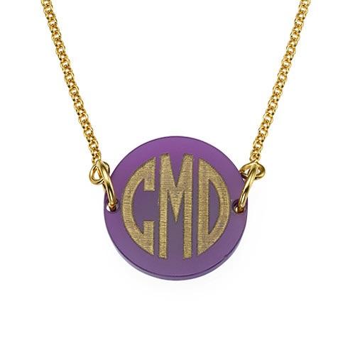 Acrylic Gold Block Monogram Necklace