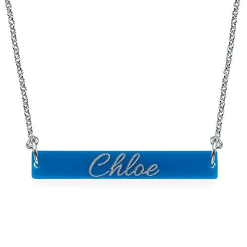 Acrylic Silver Engraved Bar Necklace