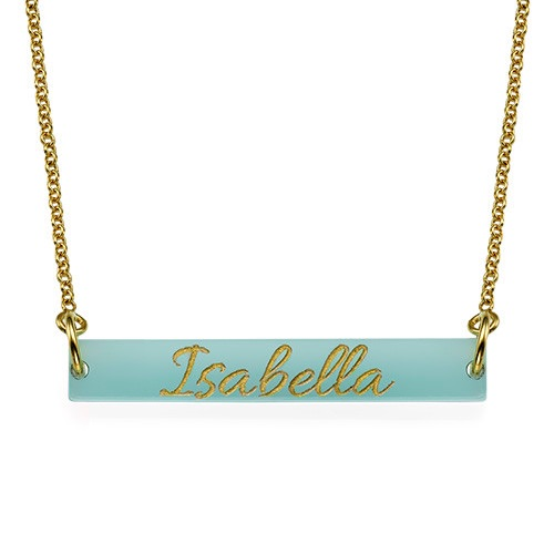 Acrylic Gold Engraved Bar Necklace
