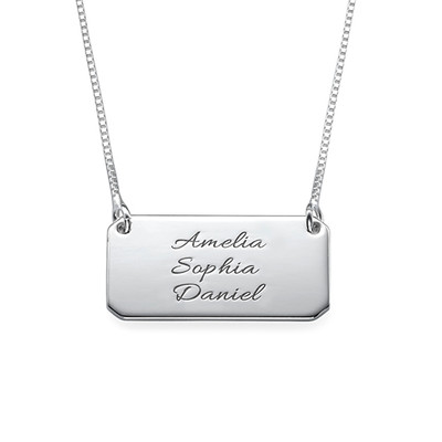 Multiple Name Silver Engraved Bar Necklace
