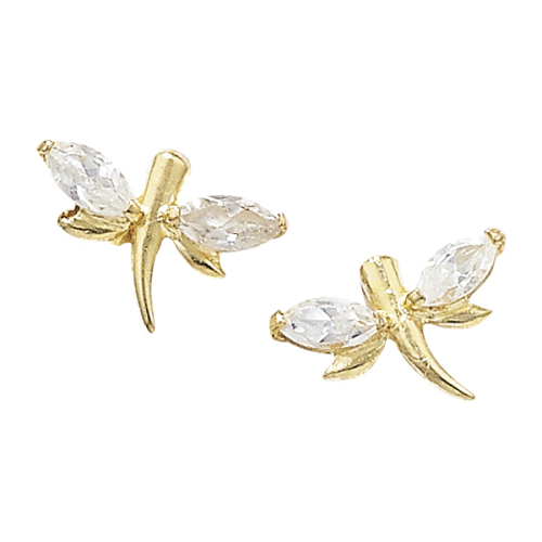 9ct CZ Dragonfly Earrings