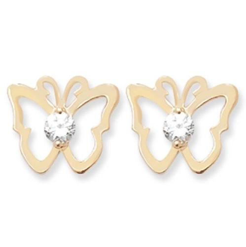 9ct CZ Butterfly Earrings