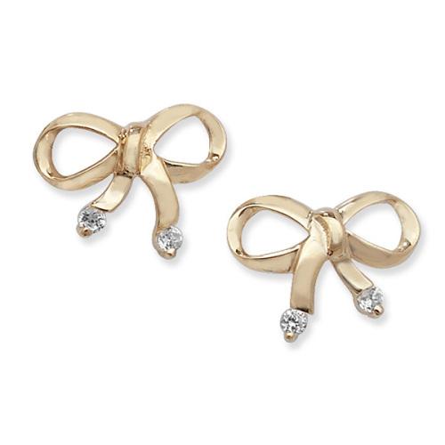 9ct CZ Bow Earrings