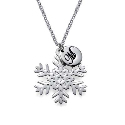 Snowflake& Initial Necklace
