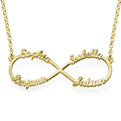 4 Name Inifinty Gold Plated Necklace