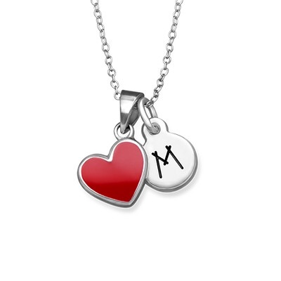 Red Heart Initial Necklace