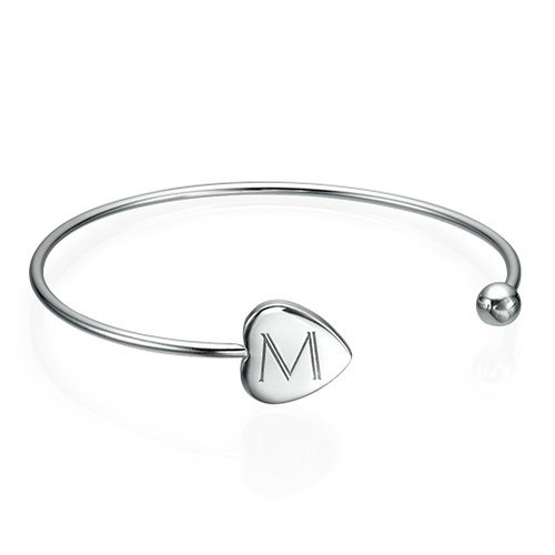 Initialed Sterling Silver Bangle