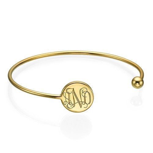 Monogrammed Gold Plated Bangle