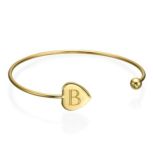 Initial Gold Plated Bangle