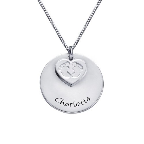 Babyfeet Double Disc Engraved Necklace