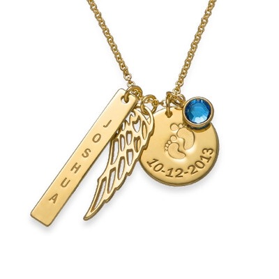 Engraved Wing, Name&Date Baby Feet Gold Plated Necklace
