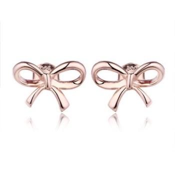 Plain Bow Rose Gold Earrings