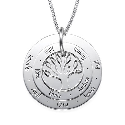 Layered Engraved Family Tree Disc Sterling Silver Necklace