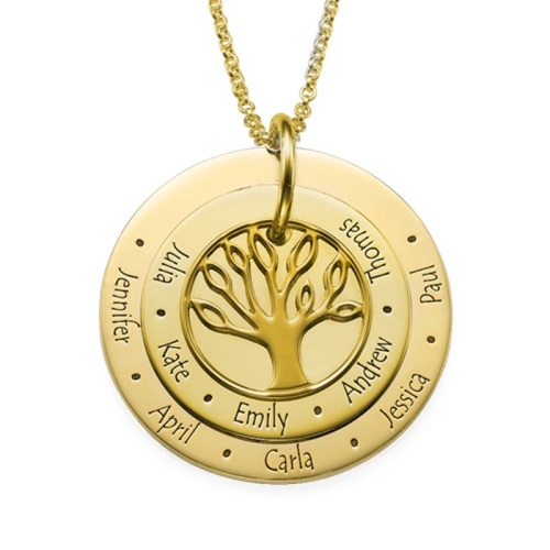 Layered Engraved Family Tree Disc Gold Plated Necklace