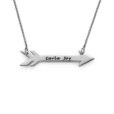 Engraved Sterling Silver Arrow Necklace