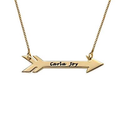 Engraved Gold Plated Arrow Necklace