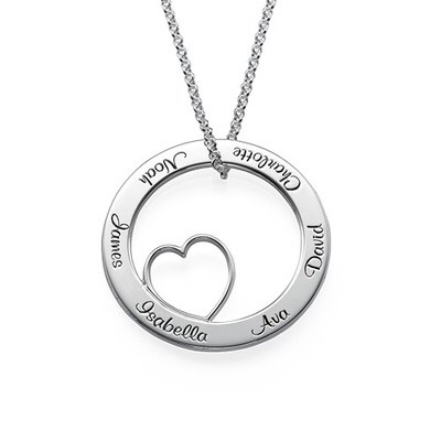 Cirlce& Heart Sterling Silver Necklace