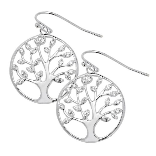 CZ Family Tree Earrings