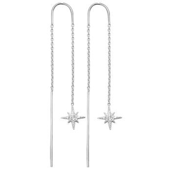 CZ Starburst Drop Earrings