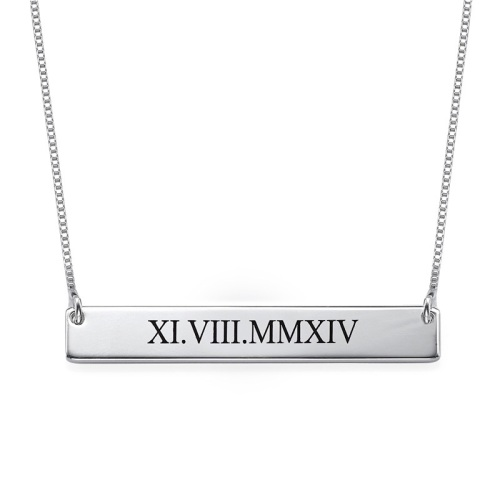 Roman Numerals Sterling Silver Bar Necklace