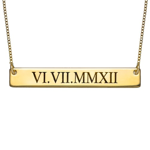 Roman Numerals Gold Plated Bar Necklace
