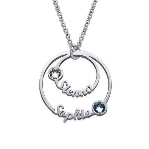 Engraved& Birthstone Disc Sterling Silver Necklace