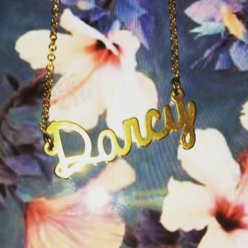 "*PREMADE SALE* 18ct gold plated Darcy name necklace on 18"" chain"