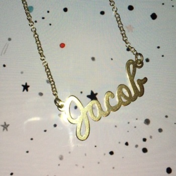 "*PREMADE SALE* sterling silver cursive Jacob name necklace 18"" chain"