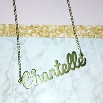 "*PREMADE SALE* sterling silver cursive Chantelle name necklace 18"" chain"