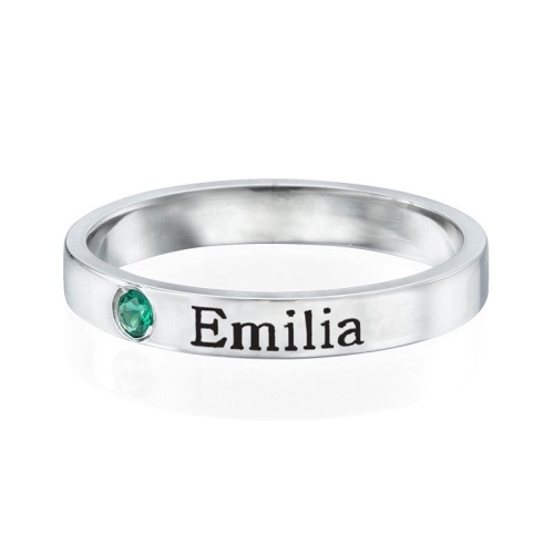 Engraved Stacking Band Rings Sterling Silver