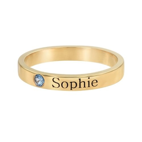 Engraved Stacking Band Ring 18ct Gold Plated