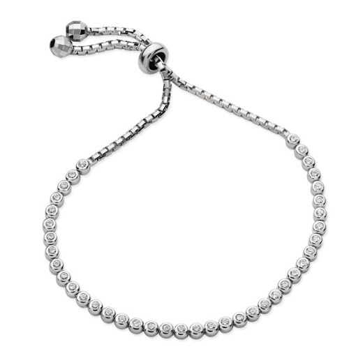 CZ Adjustable Sterling Silver Bracelet