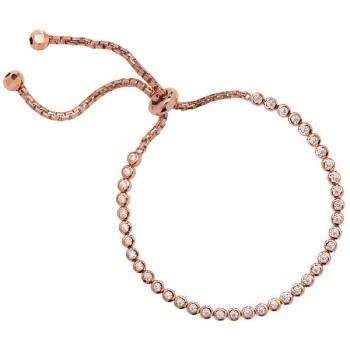 CZ Adjustable Rose Gold Plated Sterling Silver Bracelet