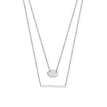 Layered Disc& Bar Necklace