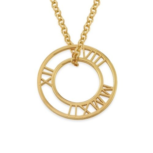 Roman Numers Disc Necklace - 18ct Gold Plated
