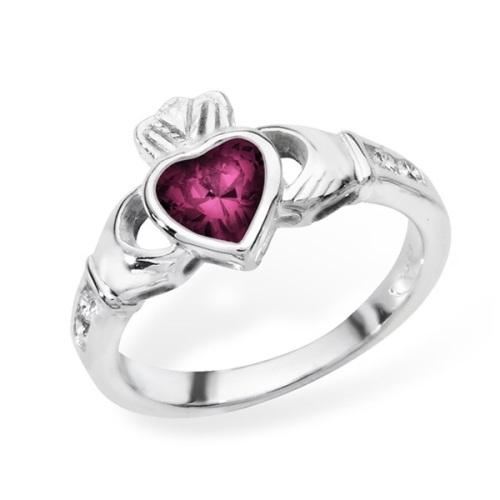 Claddagh Febuary Birthstone Ring