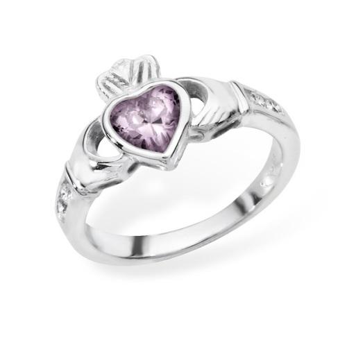 Claddagh June Birthstone Ring