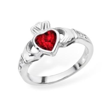 Claddagh July Birthstone Ring