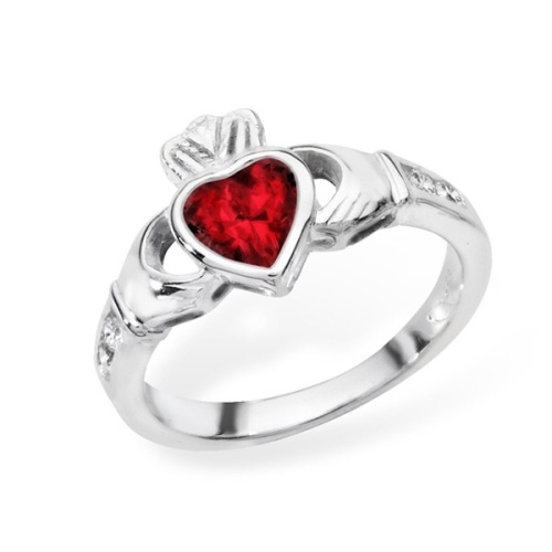 Claddagh July Birthstone Ring