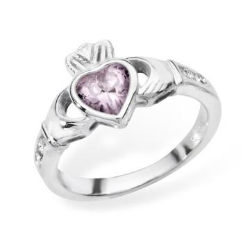 Claddagh October Birthstone Ring