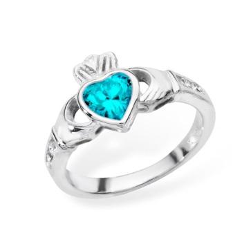 Claddagh December Birthstone Ring